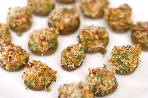 stuffed mushrooms with sun-dried tomatoes