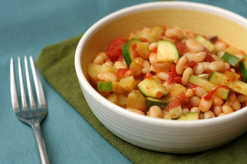 braised white beans with zucchini, tomatoes, and potatoes