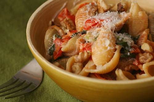 pasta with tomatoes, swiss chard, and goat cheese